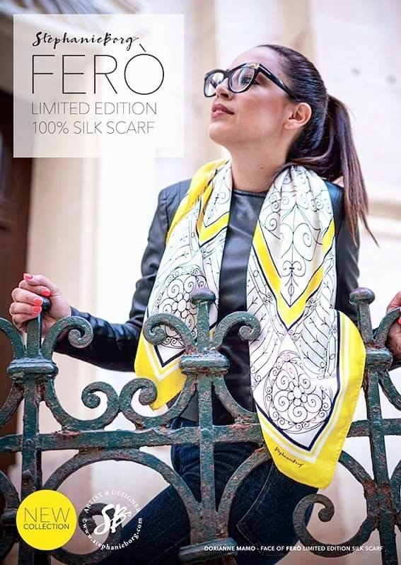 Face of FERÒ Limited Edition 100% Silk Scarf. So proud!